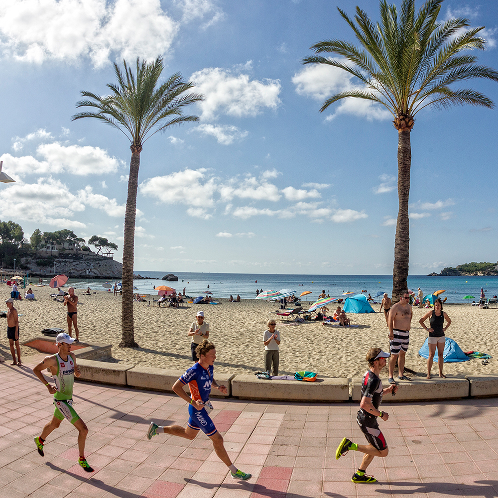 Run course or run circuit in Palmira beach during the Challenge Mallorca triathlon 70.3 middle distance race in Peguera mallorca Ironman 70.3